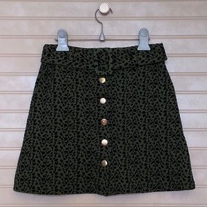 NWT Zara Green Animal Print Belted Mini Skirt